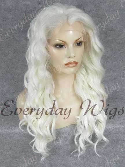 "24"" White Long Wavy Synthetic Lace Front Wig - edw153"