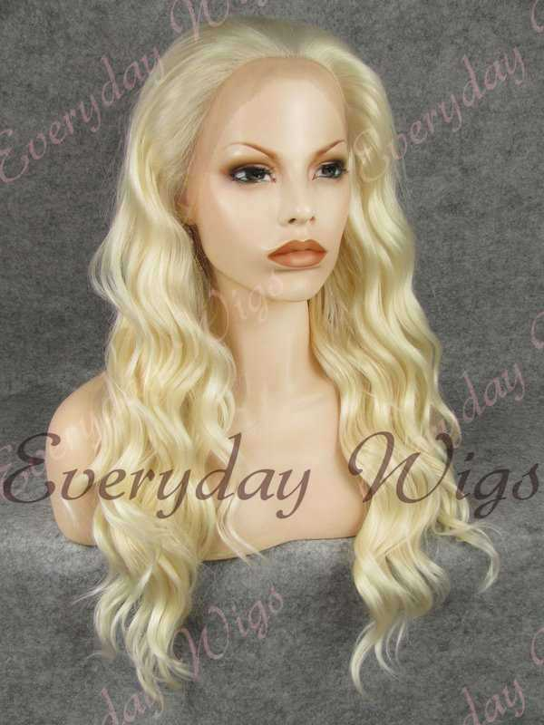"24"" #613-Platinum Blonde Long Wavy Synthetic Lace Front Wig - edw154"