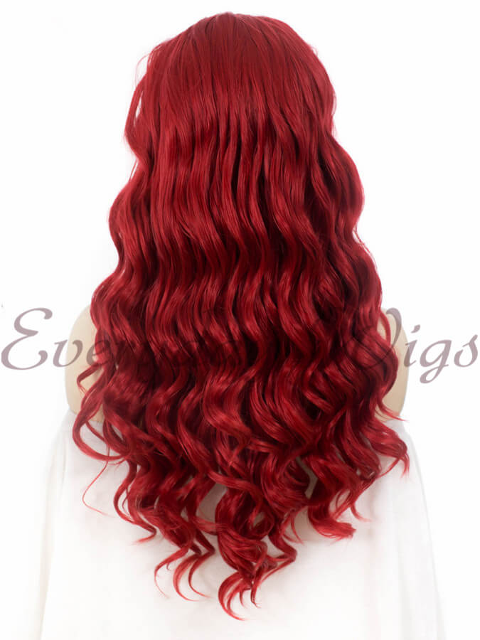 "24"" Red Wavy Synthetic Lace Front Wig -edw155"