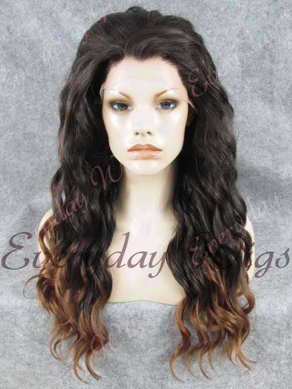 "24"" Ombre Color Long Wavy Synthetic Lace Front Wig - edw156"