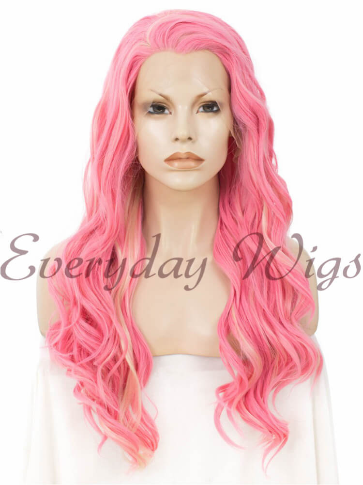 "24"" Highlight Color Long Wavy Synthetic Lace Front Wig - edw157"