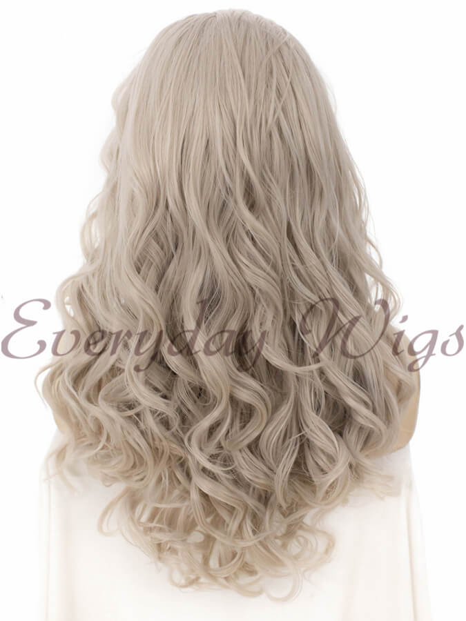 "24"" Grey Long Wavy Synthetic Lace Front Wig - edw158"