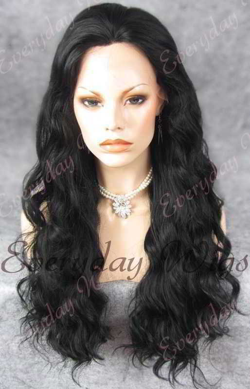 "24"" #1-Jet Black Long Wavy Synthetic Lace Front Wig - edw161"