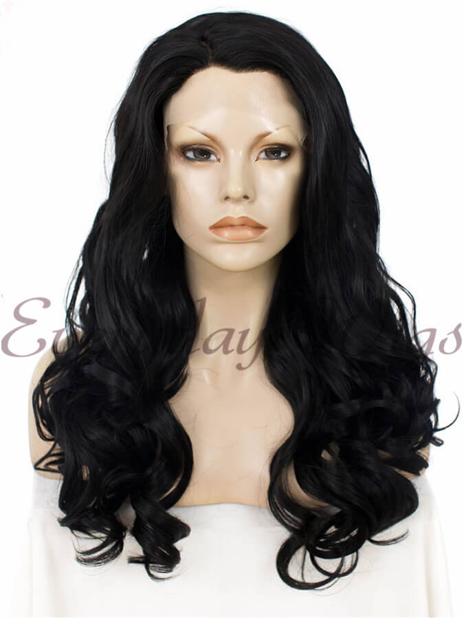 "24"" #1B-Off Black Long Wavy Synthetic Lace Front Wig - edw162"