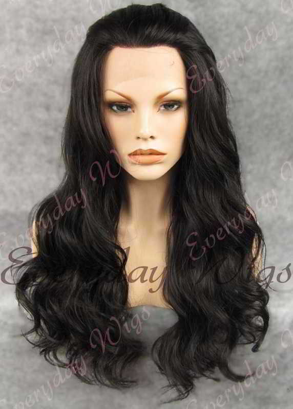 "24"" Natural Black Long Wavy Synthetic Lace Front Wig - edw163"