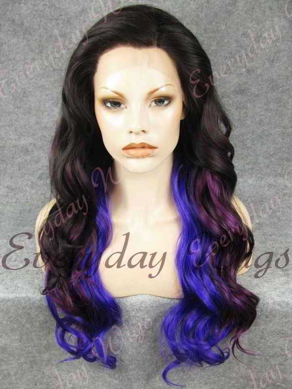 "24"" Three-tone Color Long Wavy Synthetic Lace Front Wig - edw164"