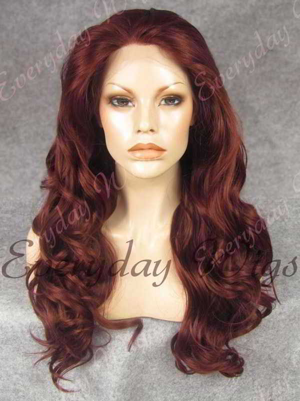 "24"" #33-Dark Auburn Long Wavy Synthetic Lace Front Wig - edw170"