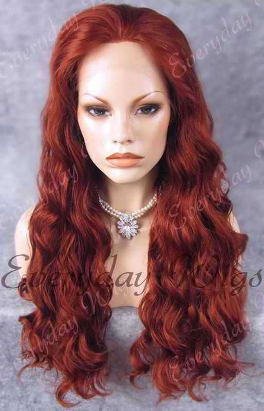 "24"" Long Wavy Synthetic Lace Front Wig - edw172"