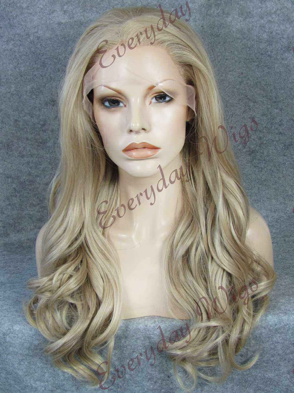 "24"" Blonde Long Wavy Synthetic Lace Front Wig - edw173"