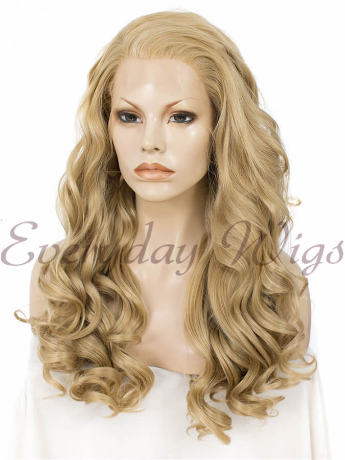 "24"" Blonde Long Wavy Synthetic Lace Front Wig - edw174"