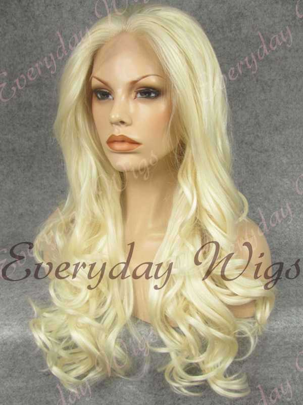 "24"" White Blonde Long Wavy Synthetic Lace Front Wig - edw176"