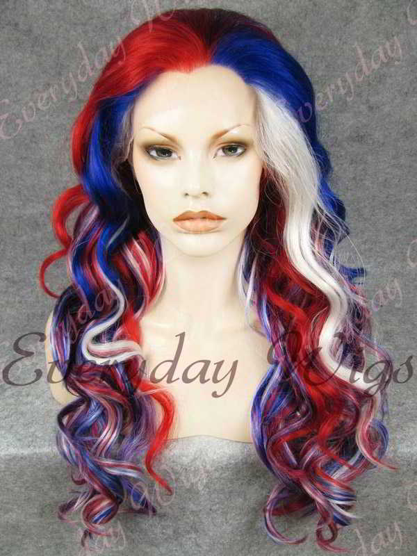 "24"" Colorful Long Wavy Synthetic Lace Front Wig - edw178"