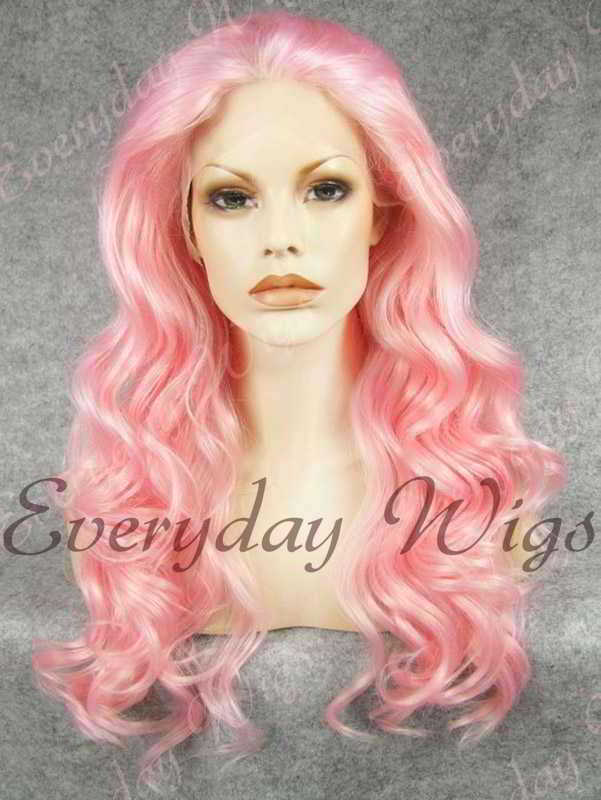 "24"" Pink Long Wavy Synthetic Lace Front Wig - edw179"