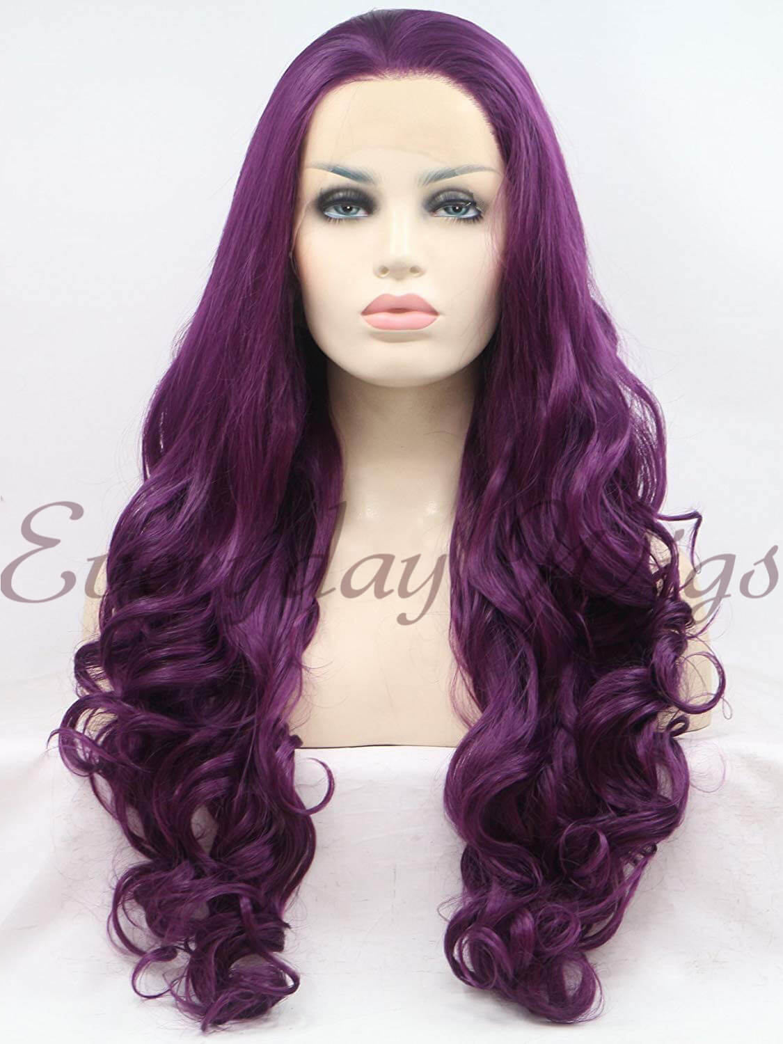 "24"" Purple Long Wavy Synthetic Lace Front Wig - edw182 - Click Image to Close"