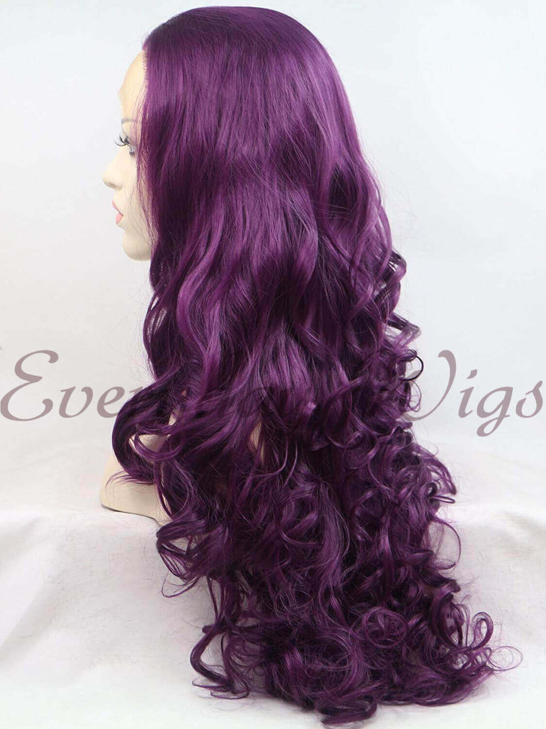 "24"" Purple Long Wavy Synthetic Lace Front Wig - edw182"
