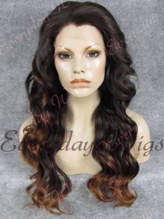 "24"" Ombre Color Long Wavy Synthetic Lace Front Wig - edw184"