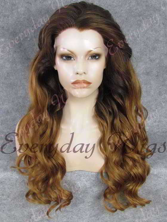 "24"" Ombre Color Long Wavy Synthetic Lace Front Wig - edw185"