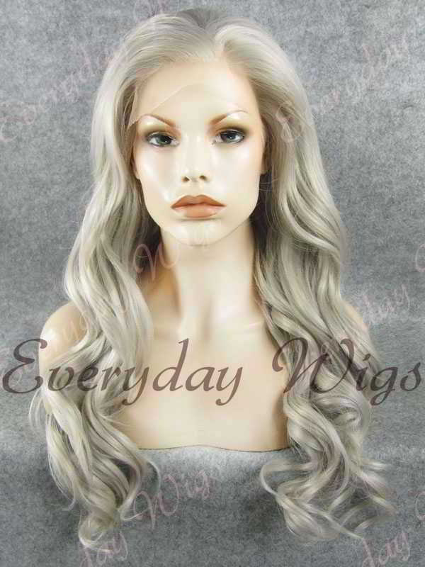 "24"" Grey Long Wavy Synthetic Lace Front Wig - edw186"