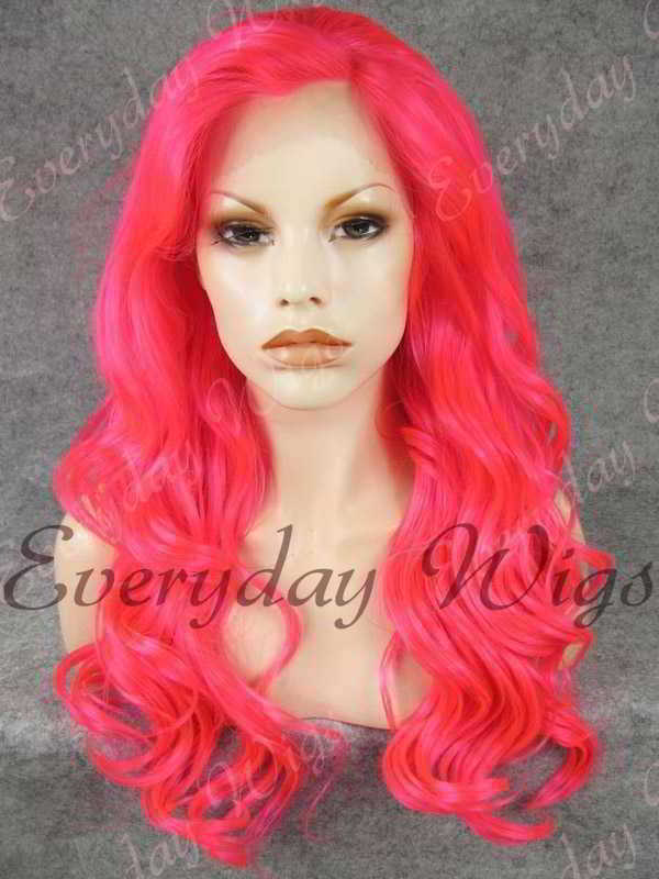 "24"" Pink Long Wavy Synthetic Lace Front Wig - edw187"