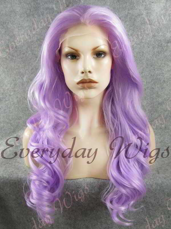 "24"" Lavender Long Wavy Synthetic Lace Front Wig - edw188"
