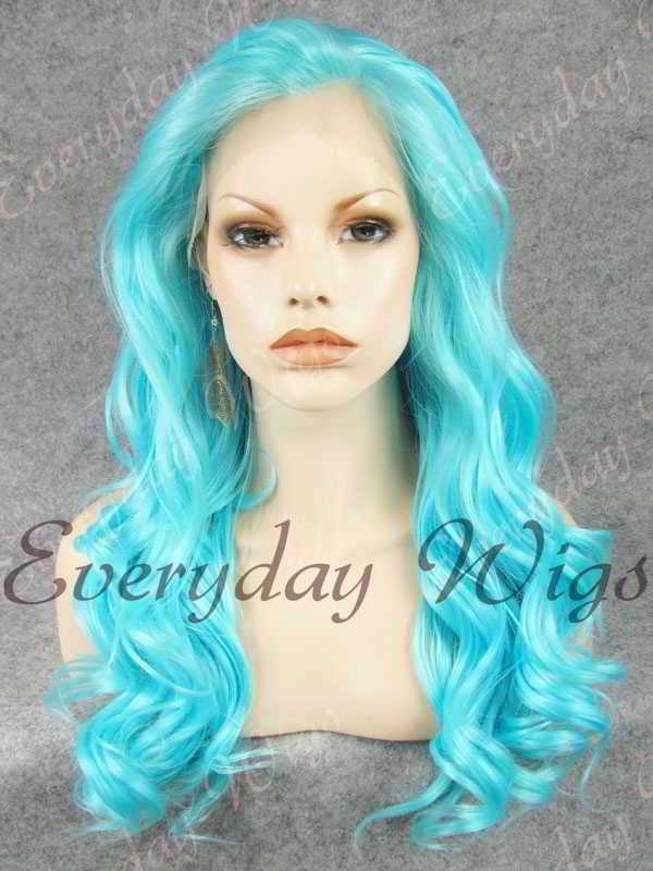 "24"" Sky Blue Long Wavy Synthetic Lace Front Wig - edw189"