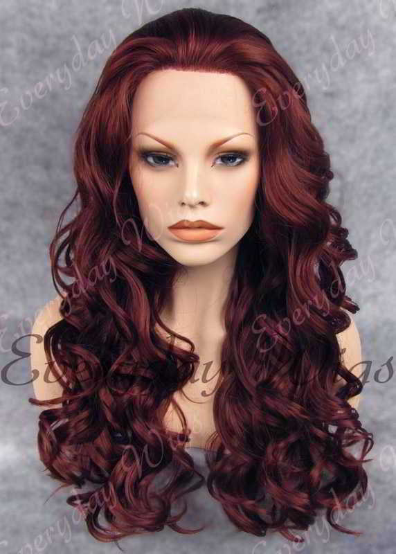 "24"" Reddish Brown Long Wavy Synthetic Lace Front Wig - edw190"