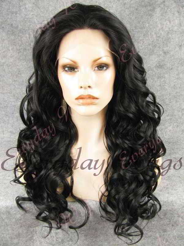"24"" #1B-Off Black Long Wavy Synthetic Lace Front Wig - edw192"