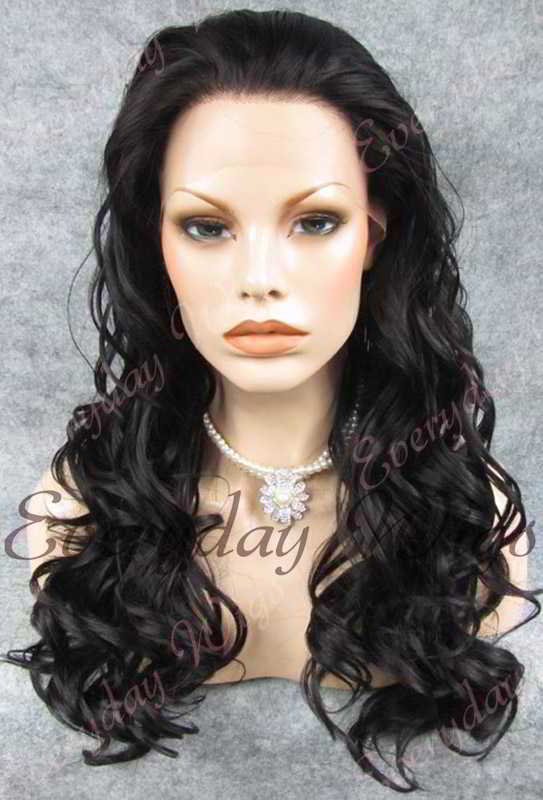 "24"" Natural Black Long Wavy Synthetic Lace Front Wig - edw193"