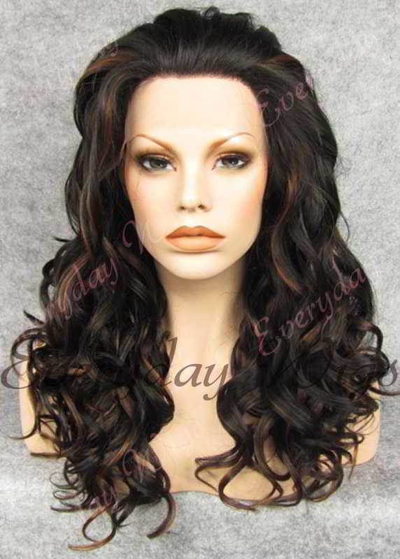 "24"" #1B Highlight with #3 Long Wavy Synthetic Lace Front Wig - edw194"