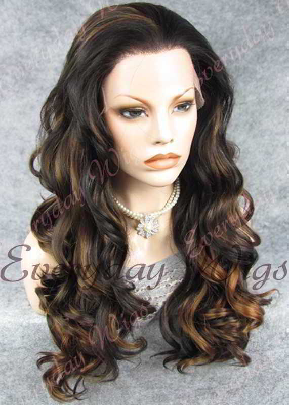 "24"" #1B Highlight with #6 Long Wavy Synthetic Lace Front Wig - edw195"