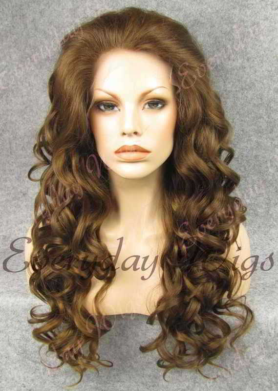 "24"" #6-Chestnut Brown Long Wavy Synthetic Lace Front Wig - edw196"