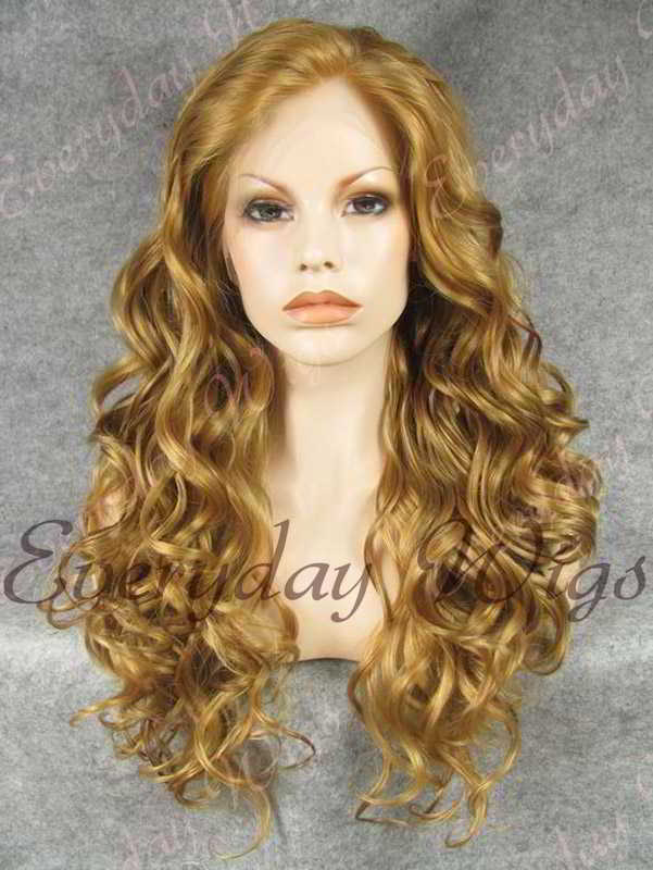 "24"" Golden Brown Long Wavy Synthetic Lace Front Wig - edw197"