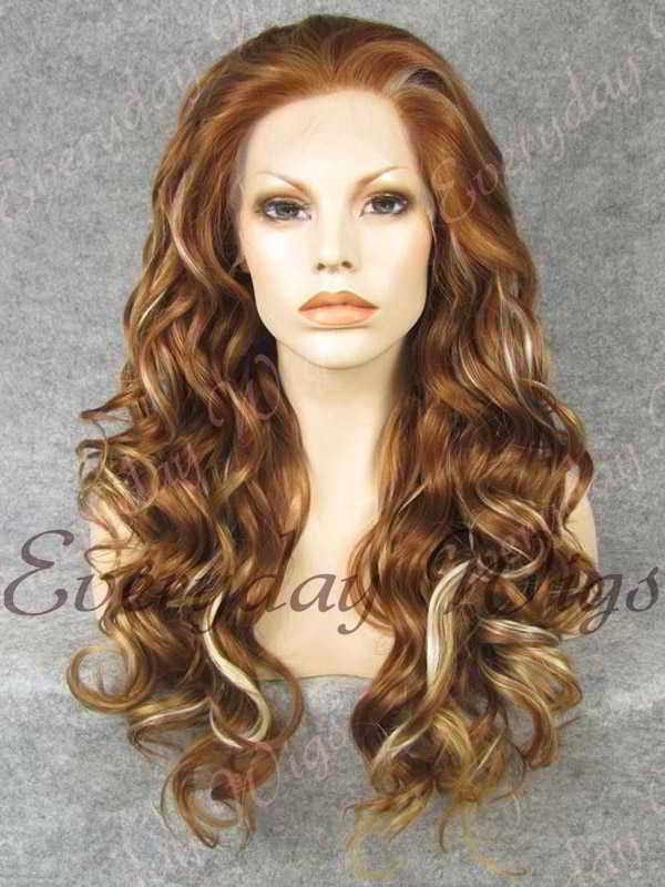 "24"" Platinum Blonde Highligt Brown Long Wavy Synthetic Lace Front Wig - edw198"