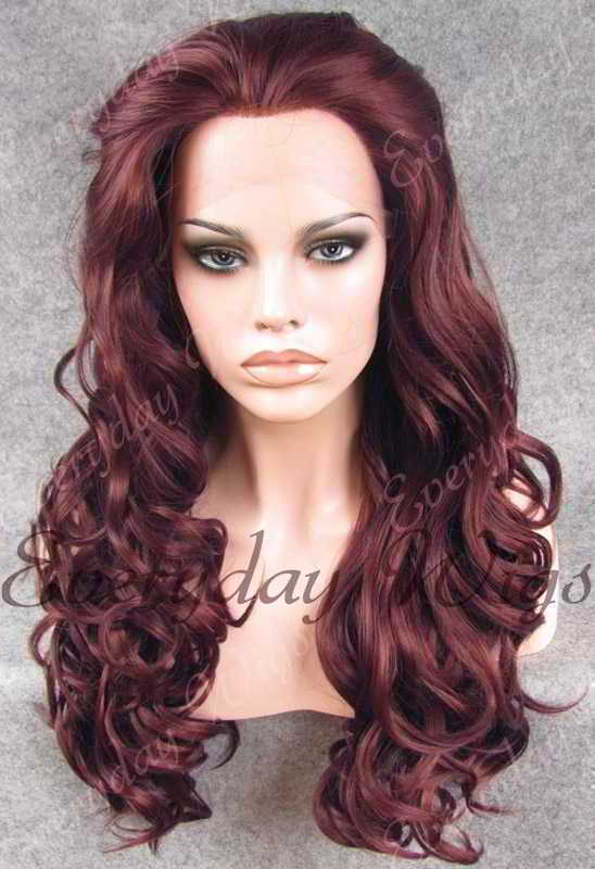 "24"" #99J-Dark Wine Long Wavy Synthetic Lace Front Wig - edw199"