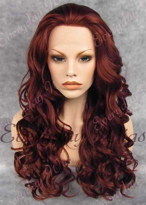 "24"" Dark Auburn Long Wavy Synthetic Lace Front Wig - edw200"