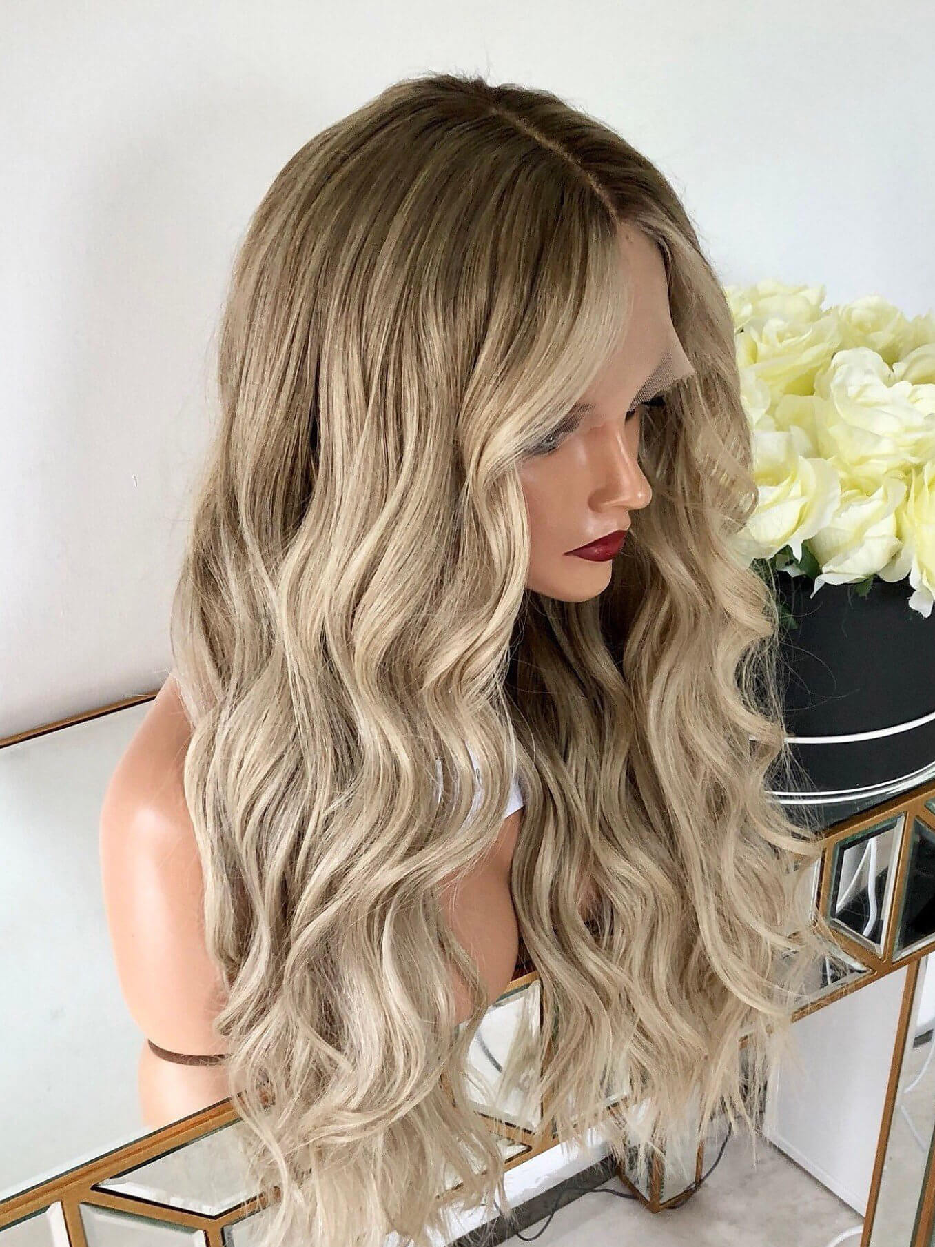 Ombre Balayage Blonde Wavy Human Lace Front Wigs - edw2001
