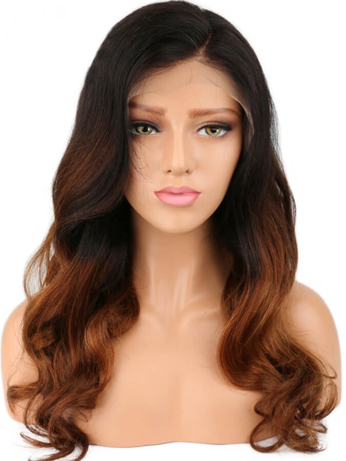 Ash blond ombre Long Wavy Lace Front Wig - edw2006
