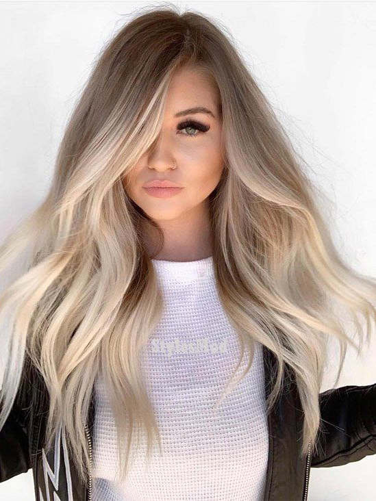Blonde Ombre Long Wavy Human Hair Lace Front Wig -edw2010
