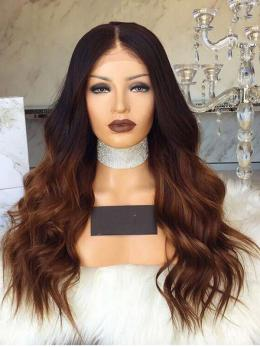 Ombre brown Human Hair Lace Front Wig - edw2012