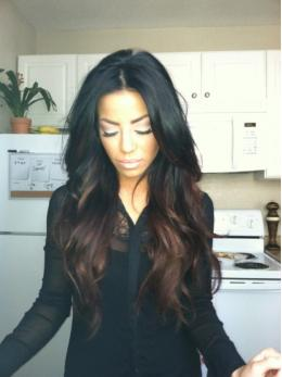 Black Ombre Medium Reddish Brown Long Wavy Lace Wigs- edw2013