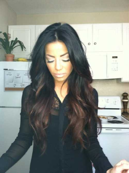 Black Ombre Medium Reddish Brown Long Wavy Lace Wigs- edw2013 - Click Image to Close