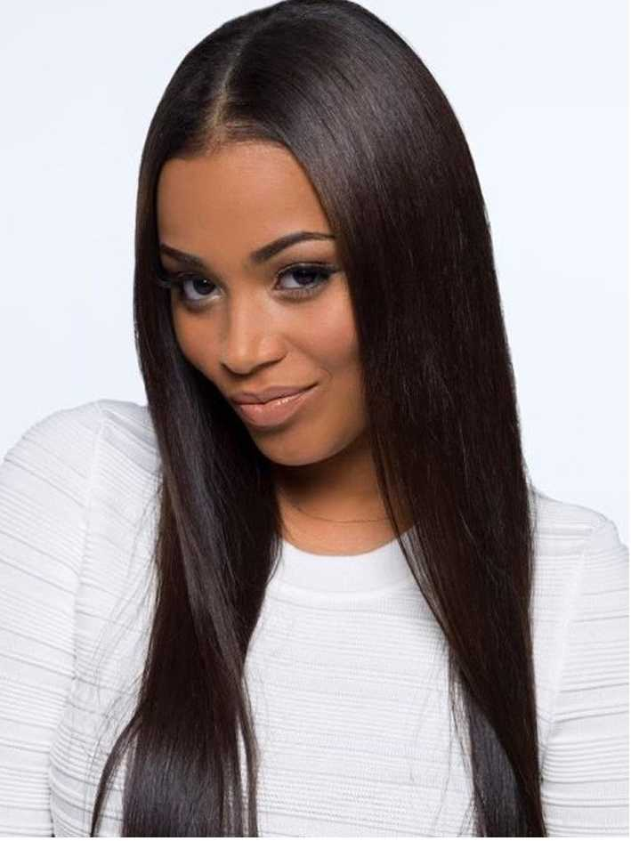 1B-Off Black Straight Human Hair Front Lace Wig - edw2015