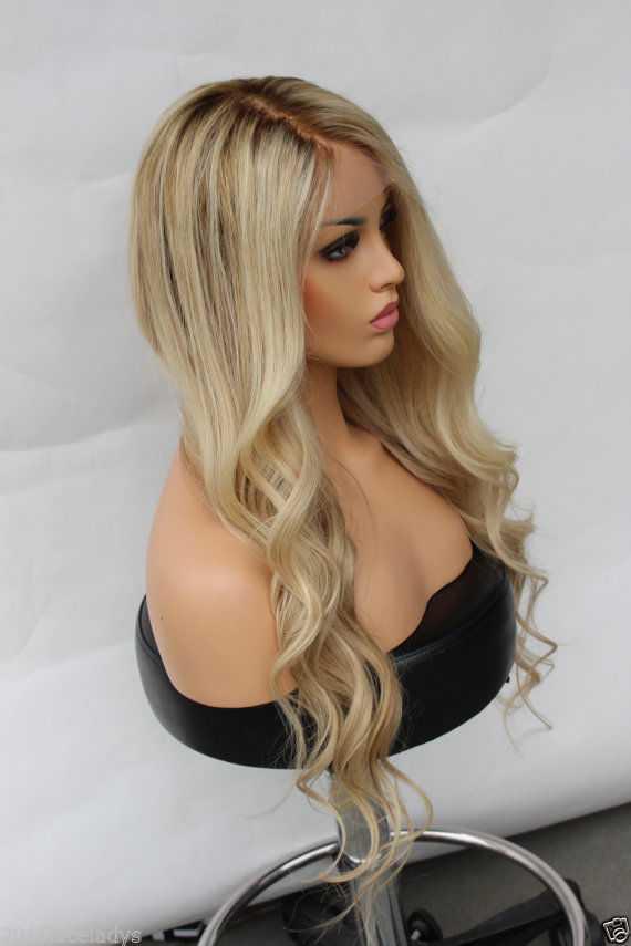 Ombre Blonde Wavy Human Hair Wig Edw2016