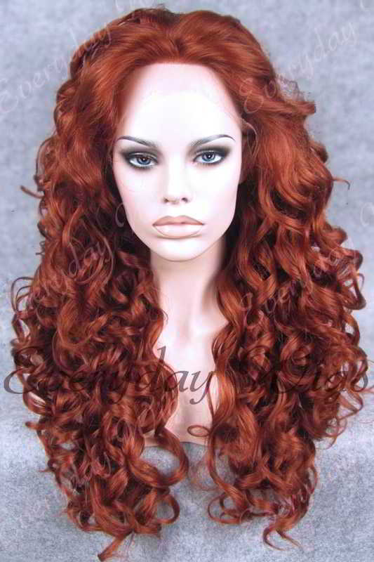"24"" Light Auburn Long Wavy Synthetic Lace Front Wig - edw202"
