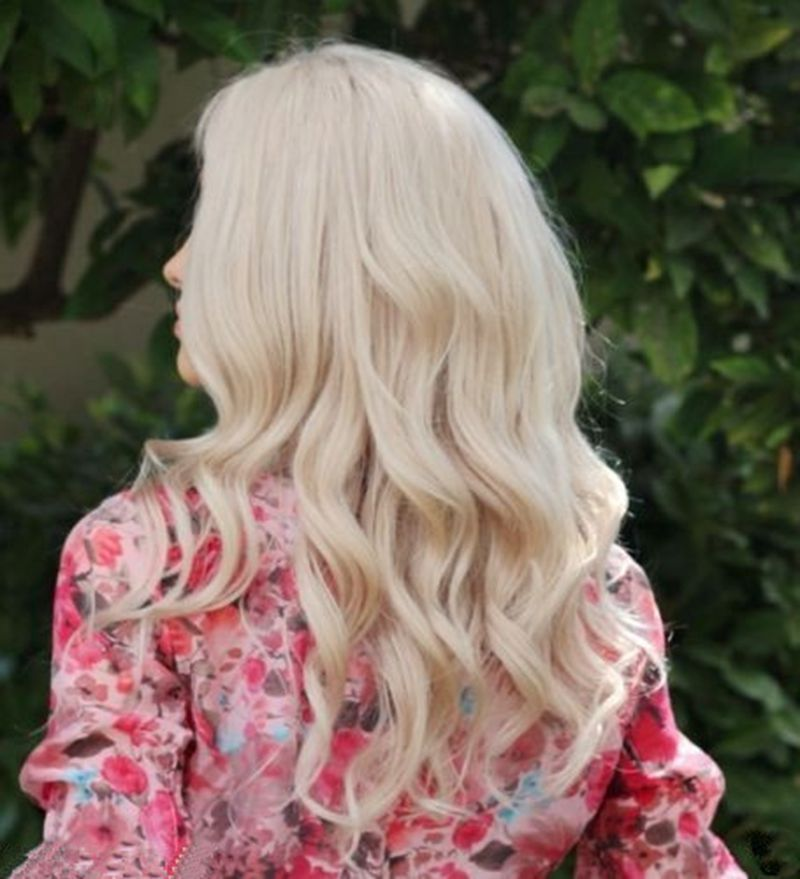 Blonde Wavy human Lace Front Wig- edw2020