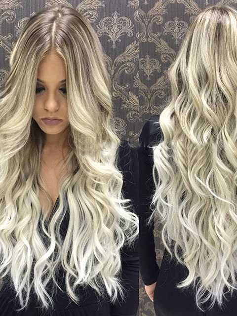 Long Blonde Wavy Human Hair Wigs- edw2026