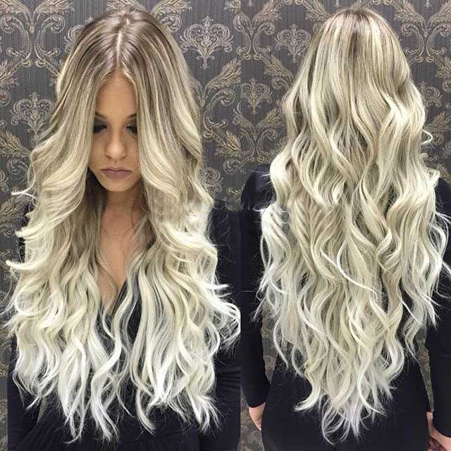 Long Blonde Wavy Human Hair Wigs Edw2026