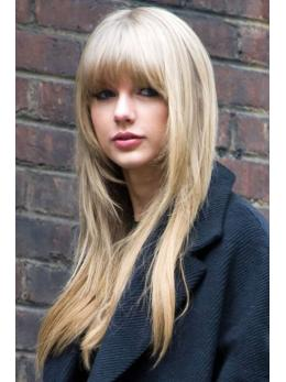 Long Blonde with Bangs Human Hair Wigs- edw2028