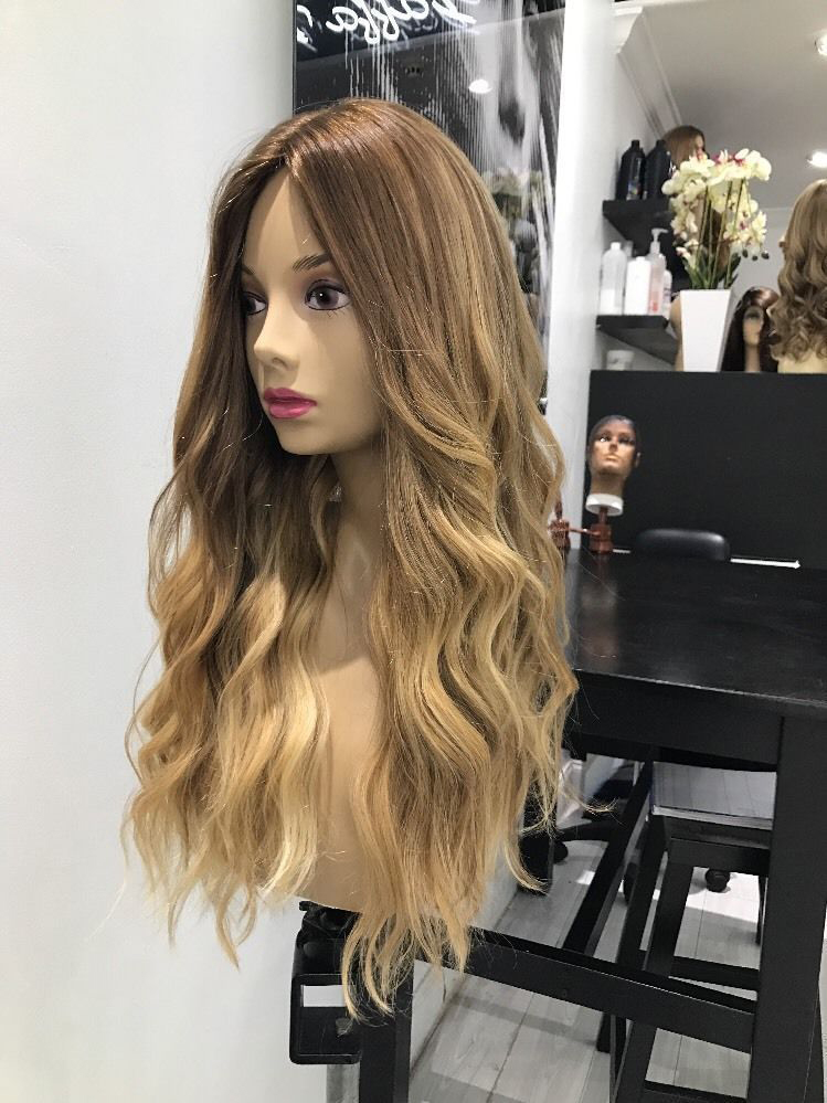 Ombre grey long human hair wig -edw2038
