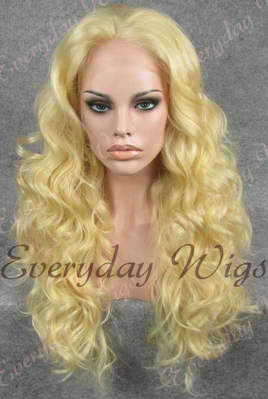 "24"" #24-Pale Golden Blonde Wavy Synthetic Lace Front Wig - edw204"